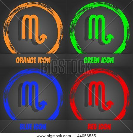 Scorpio Icon. Fashionable Modern Style. In The Orange, Green, Blue, Red Design. Vector