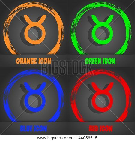 Taurus Icon. Fashionable Modern Style. In The Orange, Green, Blue, Red Design. Vector