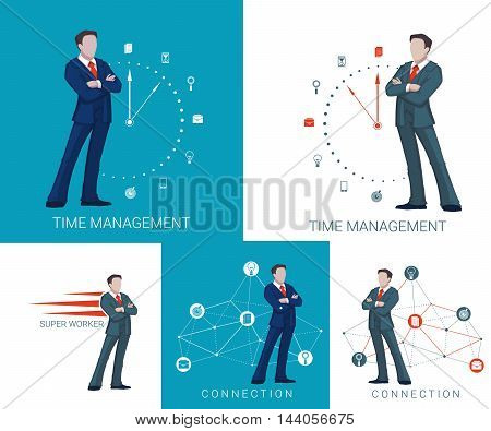 Business concept with businessman and business symbol on background. Businessman stay near clock, businessman stay near cloud diagram. Vector business illustration