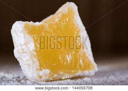 Close up of Turkish delight with powdered sugar