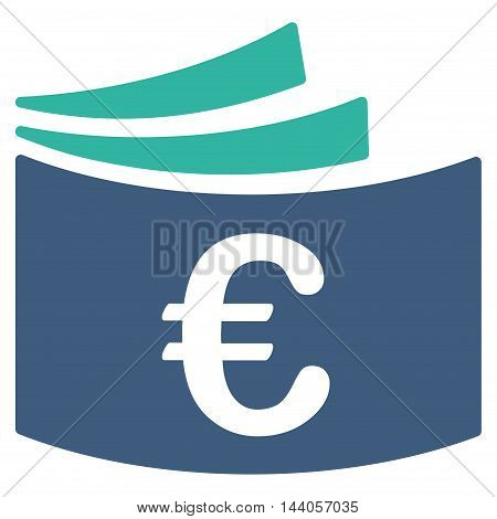 Euro Checkbook icon. Vector style is bicolor flat iconic symbol with rounded angles, cobalt and cyan colors, white background.