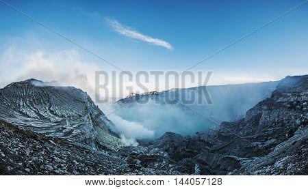 Panoramic, landscape of Kawah Ijen in indonesia