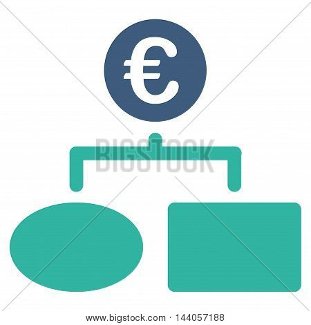 Euro Flow Chart icon. Vector style is bicolor flat iconic symbol with rounded angles, cobalt and cyan colors, white background.