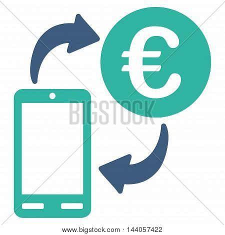 Euro Mobile Exchange icon. Vector style is bicolor flat iconic symbol with rounded angles, cobalt and cyan colors, white background.