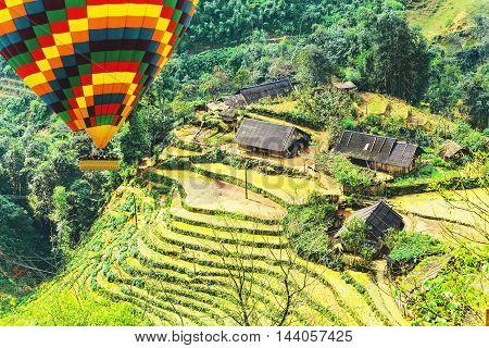 Rice Fields On Terraced Mountain Farm Landscapes.