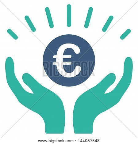 Euro Prosperity icon. Vector style is bicolor flat iconic symbol with rounded angles, cobalt and cyan colors, white background.