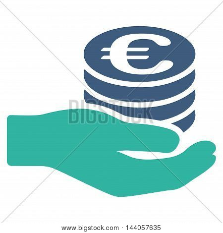 Euro Salary icon. Vector style is bicolor flat iconic symbol with rounded angles, cobalt and cyan colors, white background.
