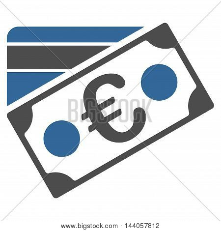 Euro Banknote and Credit Card icon. Vector style is bicolor flat iconic symbol with rounded angles, cobalt and gray colors, white background.