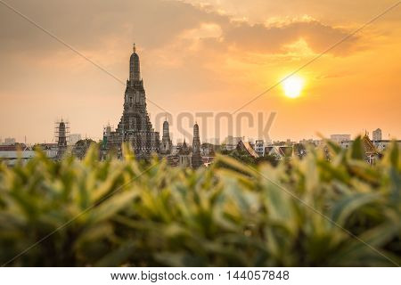 Wat Arun Buddhist religious places in sunset time Bangkok Thailand