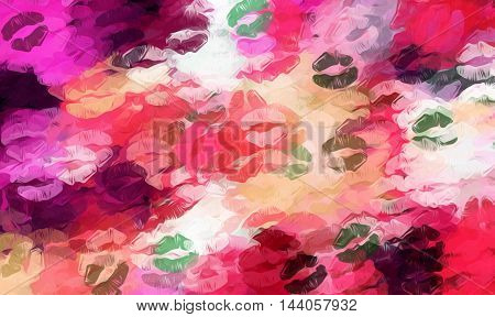 red pink orange and green kisses lipstick background