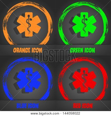 Medicine Icon. Fashionable Modern Style. In The Orange, Green, Blue, Red Design. Vector