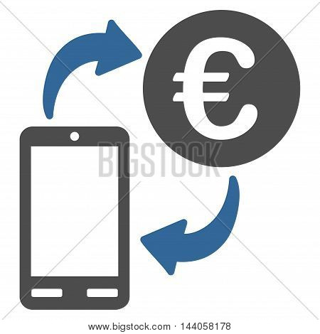 Euro Mobile Exchange icon. Vector style is bicolor flat iconic symbol with rounded angles, cobalt and gray colors, white background.