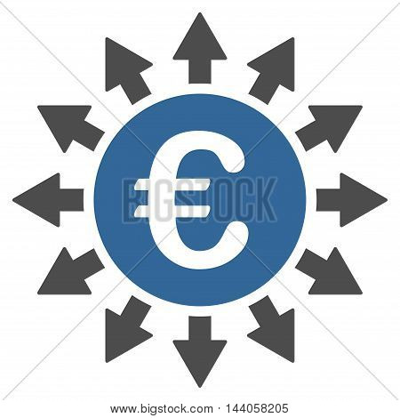 Euro Payments icon. Vector style is bicolor flat iconic symbol with rounded angles, cobalt and gray colors, white background.