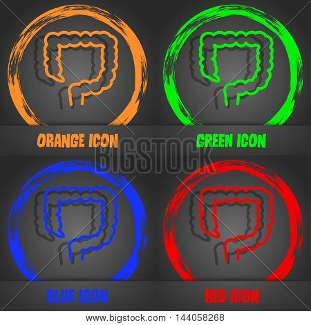 Large Intestine Icon. Fashionable Modern Style. In The Orange, Green, Blue, Red Design. Vector