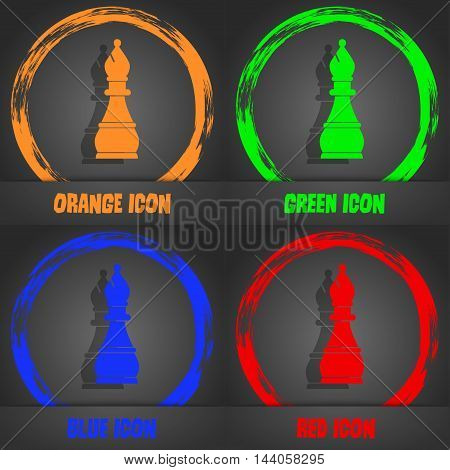 Chess Bishop Icon. Fashionable Modern Style. In The Orange, Green, Blue, Red Design. Vector