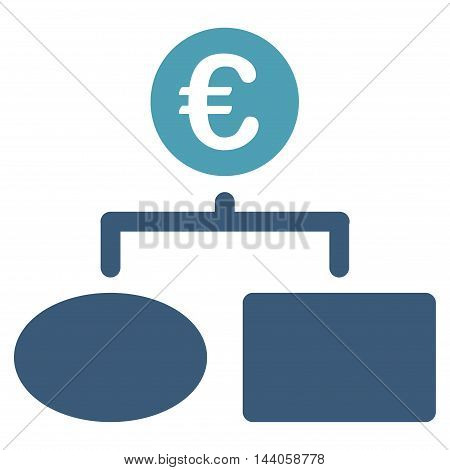 Euro Flow Chart icon. Vector style is bicolor flat iconic symbol with rounded angles, cyan and blue colors, white background.