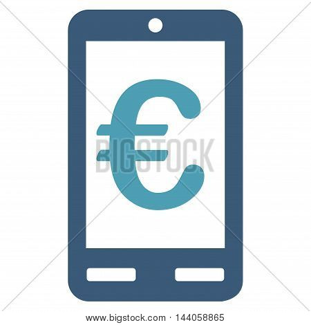 Euro Mobile Bank icon. Vector style is bicolor flat iconic symbol with rounded angles, cyan and blue colors, white background.