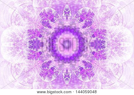Abstract flower mandala on white background. Intricate symmetrical pattern in pink and purple colors. Fantasy fractal design for posters postcards wallpapers or t-shirts. Digital art. 3D rendering.