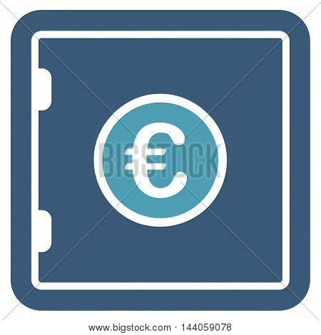 Euro Safe icon. Vector style is bicolor flat iconic symbol with rounded angles, cyan and blue colors, white background.