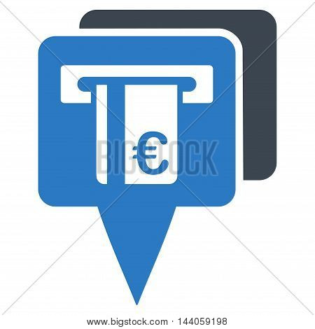 Euro Atm Pointers icon. Vector style is bicolor flat iconic symbol with rounded angles, smooth blue colors, white background.