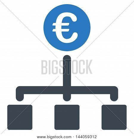 Euro Cash Flow icon. Vector style is bicolor flat iconic symbol with rounded angles, smooth blue colors, white background.