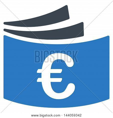 Euro Checkbook icon. Vector style is bicolor flat iconic symbol with rounded angles, smooth blue colors, white background.