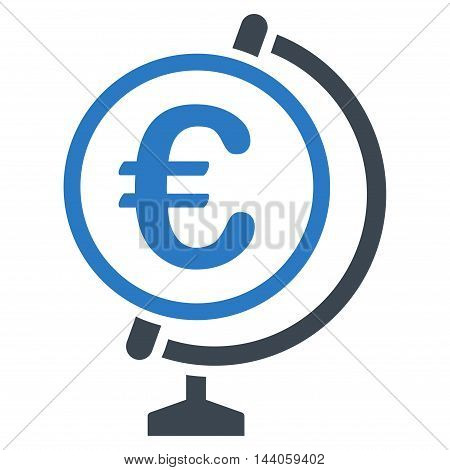 Euro Globe icon. Vector style is bicolor flat iconic symbol with rounded angles, smooth blue colors, white background.