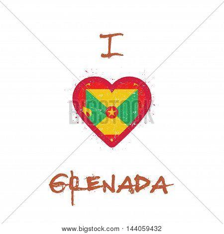 I Love Grenada T-shirt Design. Grenadian Flag In The Shape Of Heart On White Background. Grunge Vect