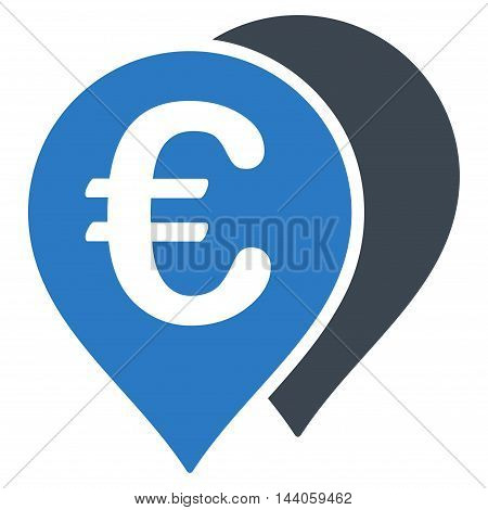 Euro Map Markers icon. Vector style is bicolor flat iconic symbol with rounded angles, smooth blue colors, white background.