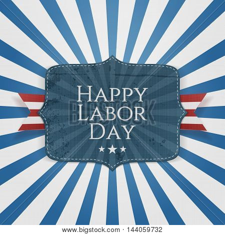 Happy Labor Day Text on greeting Badge