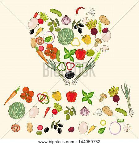 Heart shape by various vegetables healthy eating food ingredients vector