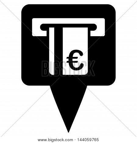 Euro Atm Pointer icon. Vector style is flat iconic symbol with rounded angles, black color, white background.