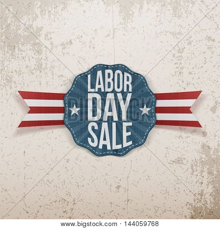 Labor Day Sale paper Tag on Ribbon