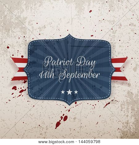 Patriot Day 11th September Tag with Ribbon