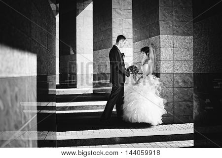 Wedding Couple On Streets Of Old City, Play With Shadows