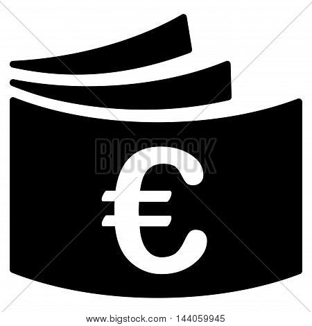 Euro Checkbook icon. Vector style is flat iconic symbol with rounded angles, black color, white background.