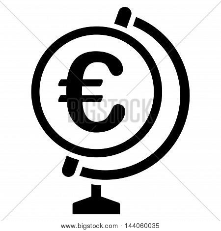 Euro Globe icon. Vector style is flat iconic symbol with rounded angles, black color, white background.