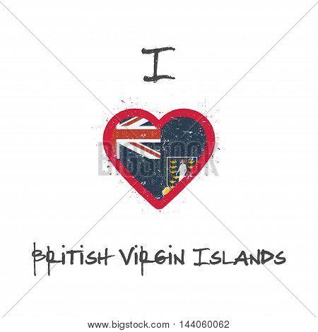 I Love Virgin Islands, British T-shirt Design. Virgin Islander Flag In The Shape Of Heart On White B