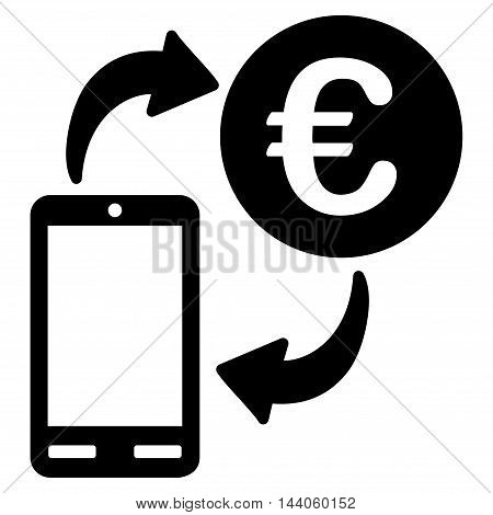 Euro Mobile Exchange icon. Vector style is flat iconic symbol with rounded angles, black color, white background.