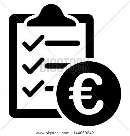 Euro Purchase Pad icon. Vector style is flat iconic symbol with rounded angles, black color, white background.