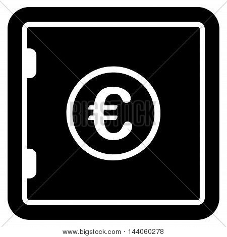 Euro Safe icon. Vector style is flat iconic symbol with rounded angles, black color, white background.