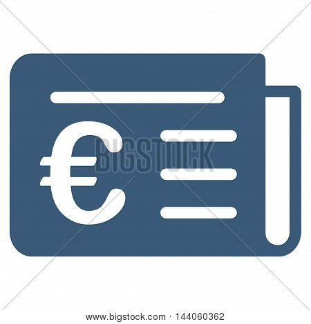 Euro Banking News icon. Vector style is flat iconic symbol with rounded angles, blue color, white background.