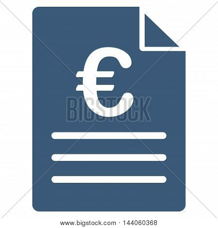 Euro Document icon. Vector style is flat iconic symbol with rounded angles, blue color, white background.