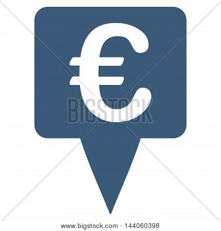 Euro Map Pointer icon. Vector style is flat iconic symbol with rounded angles, blue color, white background.