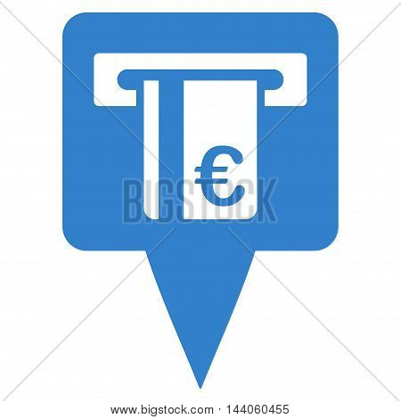 Euro Atm Pointer icon. Vector style is flat iconic symbol with rounded angles, cobalt color, white background.