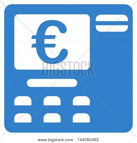 Euro Atm icon. Vector style is flat iconic symbol with rounded angles, cobalt color, white background.