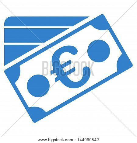 Euro Banknote and Credit Card icon. Vector style is flat iconic symbol with rounded angles, cobalt color, white background.