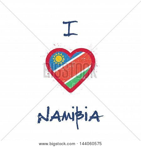 I Love Namibia T-shirt Design. Namibian Flag In The Shape Of Heart On White Background. Grunge Vecto