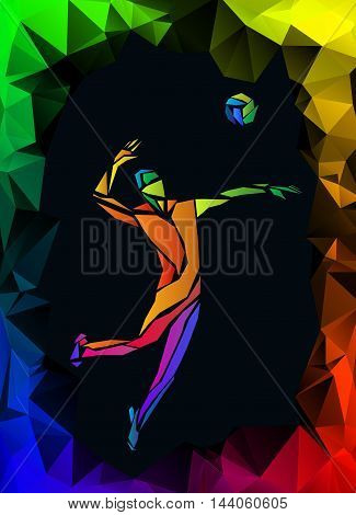 Creative silhouette of volleyball player serving a ball. Beach sport, colorful vector illustration with polygonal black background