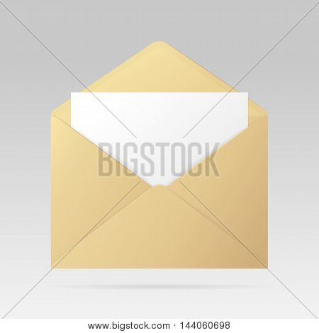 Open golden envelope with invitation card. Vector realistic template isolated from the background.